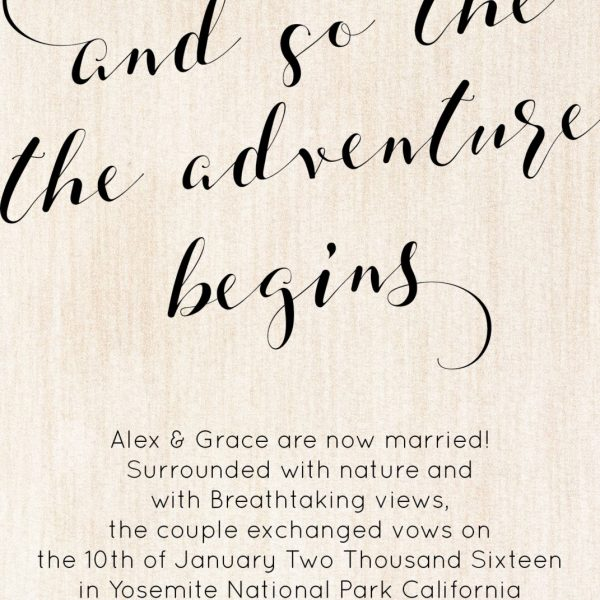 Rustic And So The Adventure Begin Elopement Announcement Cards