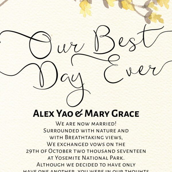 Our Best Day Ever Elopement Announcement Cards with Yellow Flowers