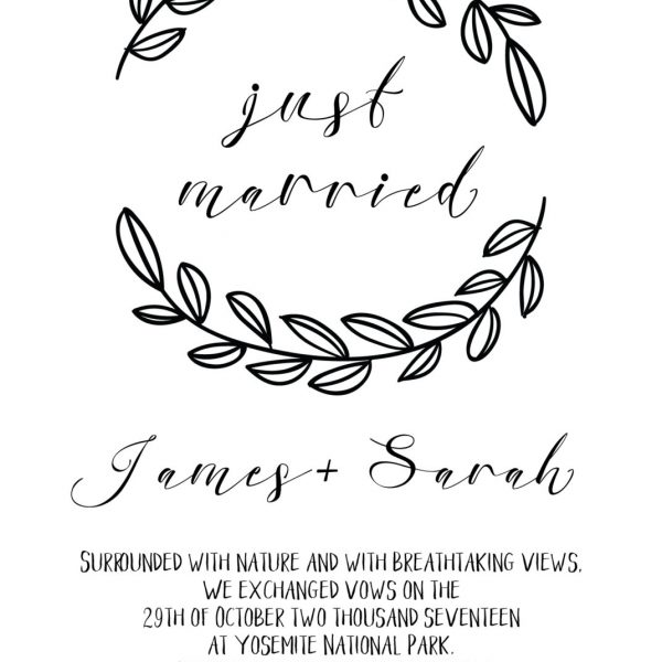 Rustic Elopement Announcement Card, Wedding Announcements Elopement Card, Just Married Card, Eloped Card