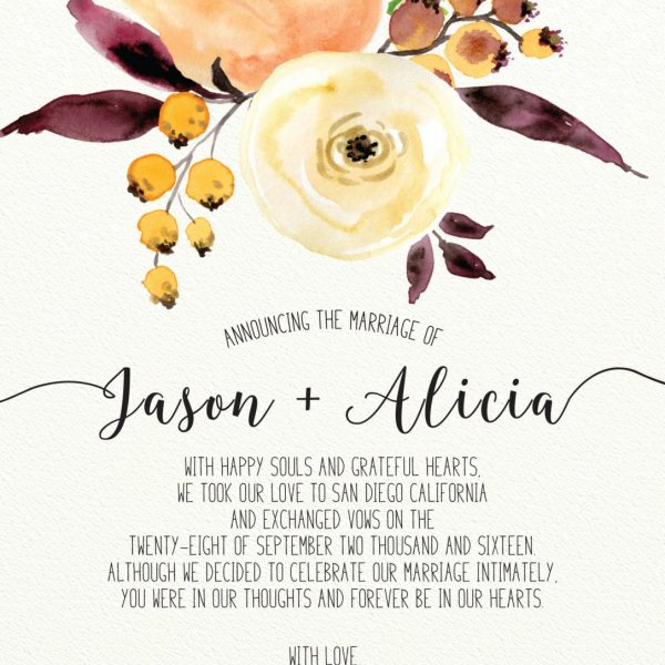 Floral Elopement Announcement Cards, Wedding Annoucement Cards