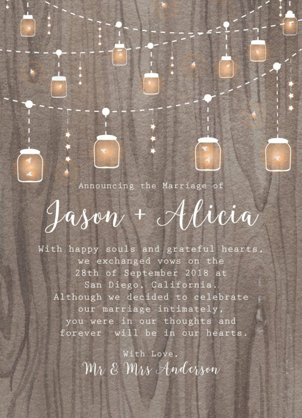 Rustic Elopement Cards with String Lights and Mason Jars