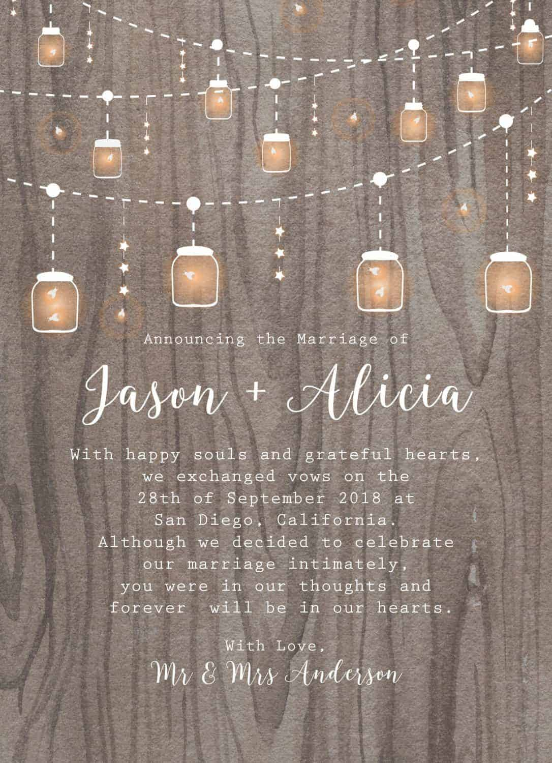 Rustic Elopement Cards with String Lights and Mason Jars elopement40