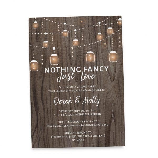 Rustic Nothing Fancy Just Love, BBQ Casual Party Invitation Cards with String Lights and Mason Jars