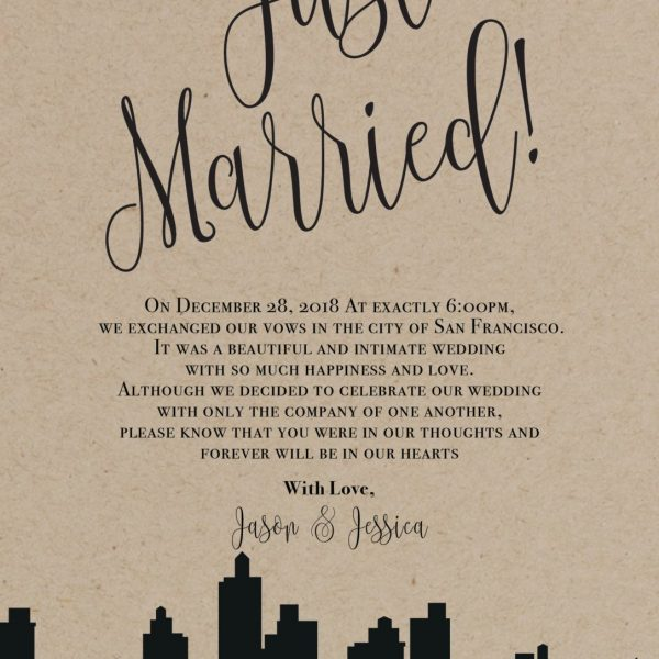 Rustic Elopement Announcement Card, Wedding Announcements Elopement Card, Just Married Card, Eloped Card, Elopement Card