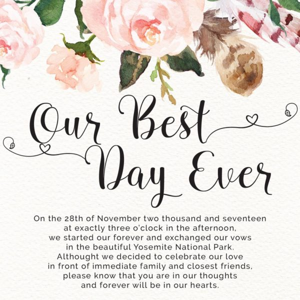 Our Best Day Ever Elopement Announcement Cards, Floral Bohomian Elopement Cards