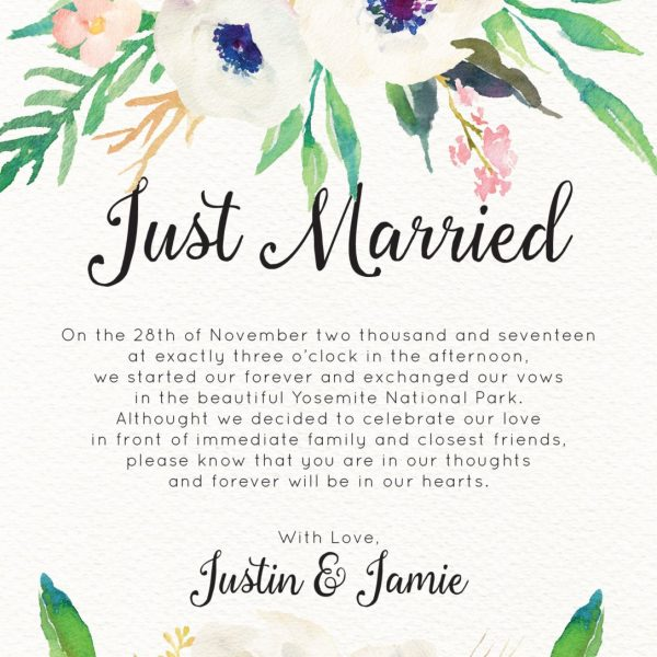Just Married Elopement Cards, Elegant Floral Elopement Announcements, Elopement Announcement Cards