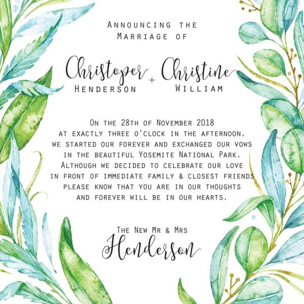 Elopement Announcement Cards, Green, Leaves Eloped Cards