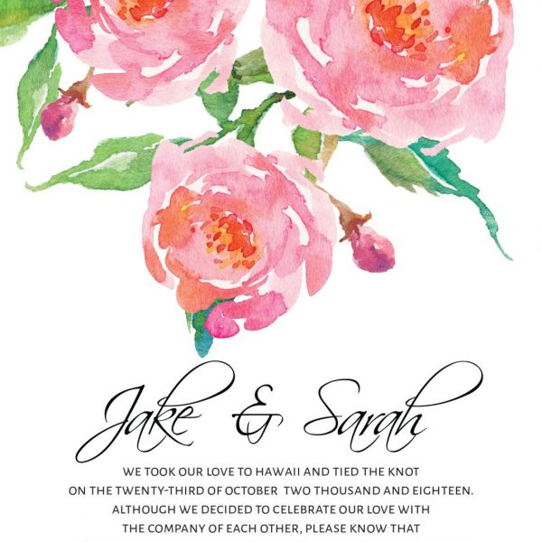 Elopement Cards, Pink Flowers Wedding Eloped Announcement Cards