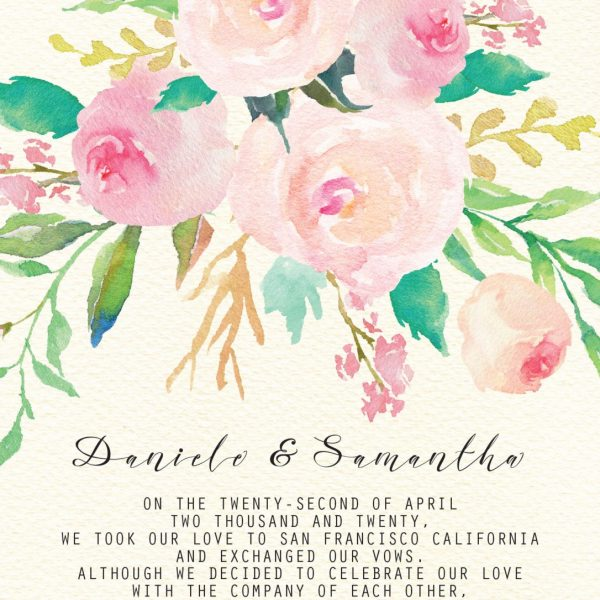 Elegant Floral Elopement Announcement Cards, Personalized Eloped Cards