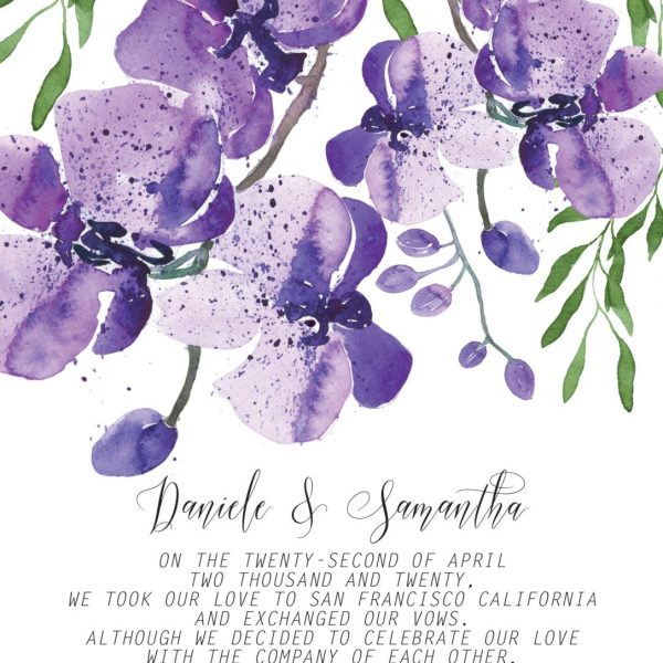 Elopement Announcement Cards, Violet Orchids Eloped Cards