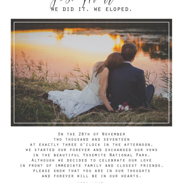 Simple Elopement Announcement Card, Add Your Own Photo