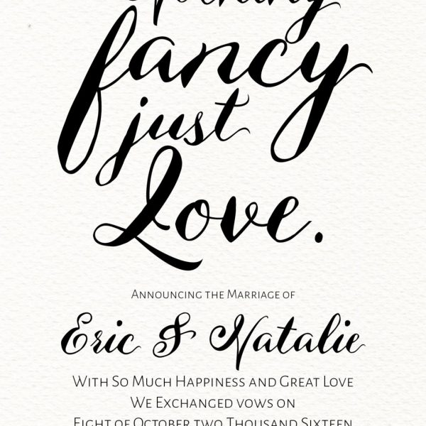 Nothing Fancy Just Love, Simple and Classic Elopement Cards