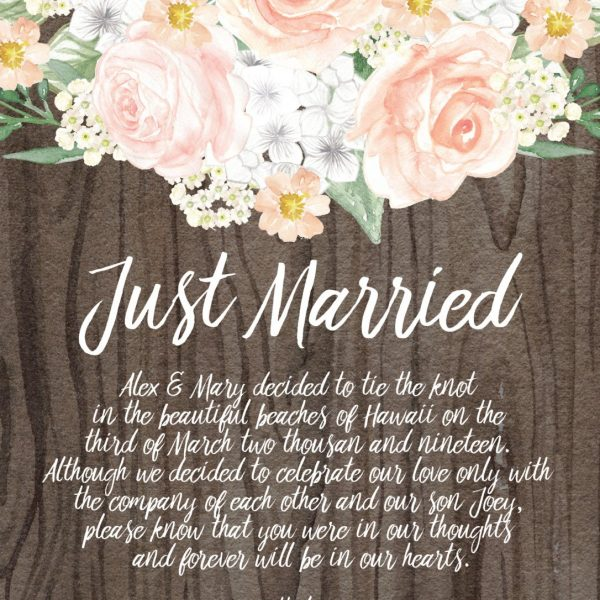 Just Married Rustic Elopement Cards, Elopement Announcement Cards with Flowers