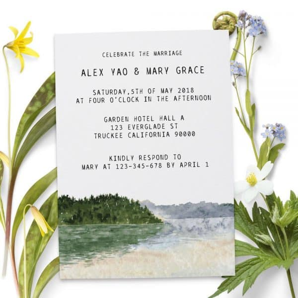 Scenic Reception Invitation Cards, Elopement Wedding Cards for Casual Party, Celebration and BBQ
