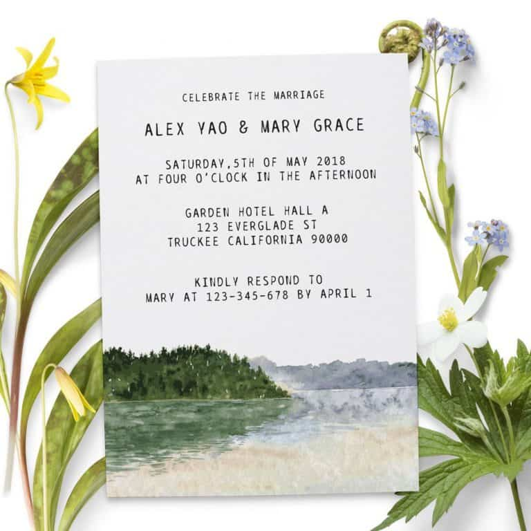 Scenic Reception Invitation Cards, Elopement Wedding Cards for Casual Party, Celebration and BBQ elopement79-2