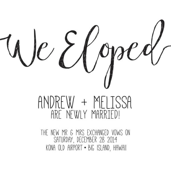 We Eloped Simple Elopement Cards, Elopement Announcement Cards