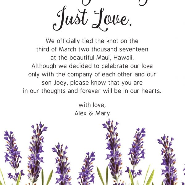 Nothing Fancy Just Love, Wedding Announcement Cards, Printed and Printable Elopement Announcement Cards