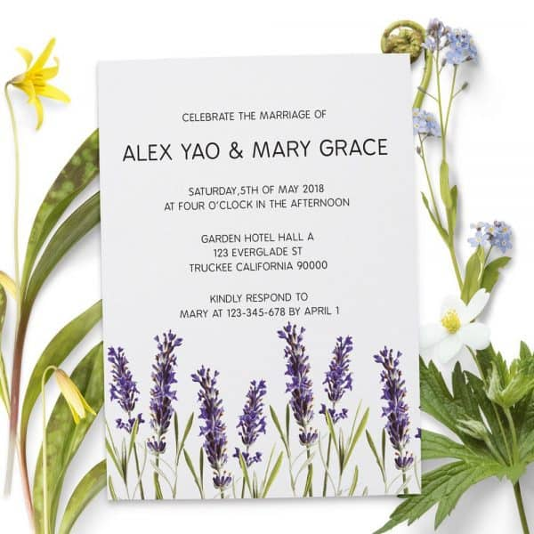 Lavender Wedding Reception Cards, Floral Elopement Reception Invitations for Casual Party, BBQ Party and Dinner