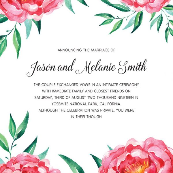 Elopement Announcement Cards, Wedding Announcement Cards, Printed and Printable Elopement Announcement Cards