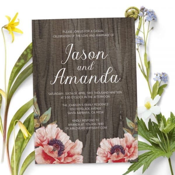 Rustic Casual BBQ Reception Invitation Party, Wedding Elopement Reception Cards