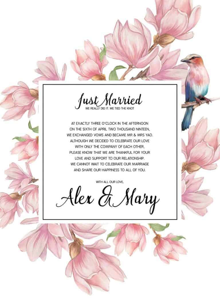 Just Married Elopement Announcement Cards, Pink Flowers and Bird Elopement Announcement Cards