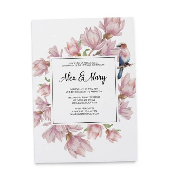 Spring Blossom Wedding Reception Invitation Cards, Casual Party, BBQ Party Invitation Cards elopement83-2