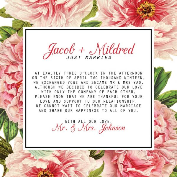 Vintage Floral Elopement Announcement Cards, Just Married Elopement Cards