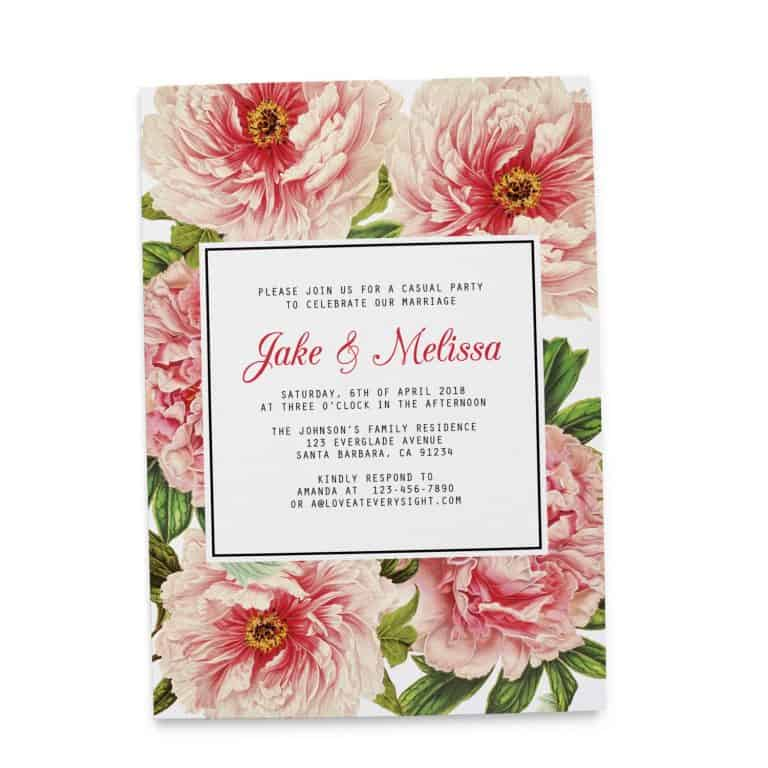 Vintage Elopement Wedding Reception Invitation Cards, Floral, Casual Party BBQ Party Invitation Cards elopement86-2