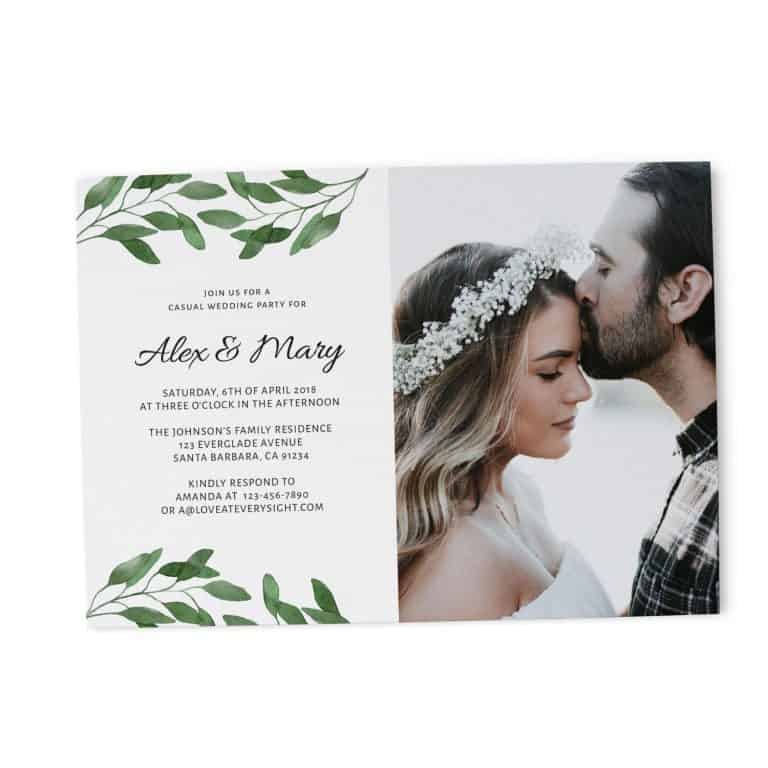 Casual BBQ Wedding Reception Party Invitation Cards, Add Your Own Picture elopement90-2