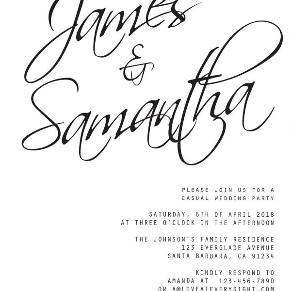 Simple Wedding Reception Invitation Cards, BBQ Party Elopement Reception Invitations