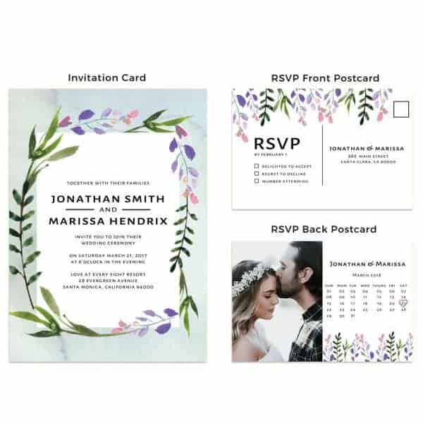 Wedding Invitation Cards with RSVP postcards Spring Floral Wedding Invitations, Wedding Cards, Cheap Wedding Invitations