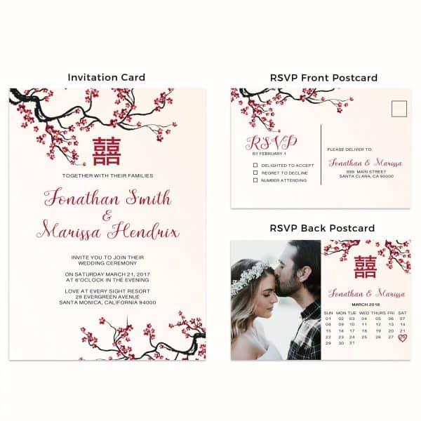 Simple Chinese Wedding Invitation Cards with RSVP postcards Mason Jars, Wedding Invitations Cards, Cheap Wedding Invitations w33