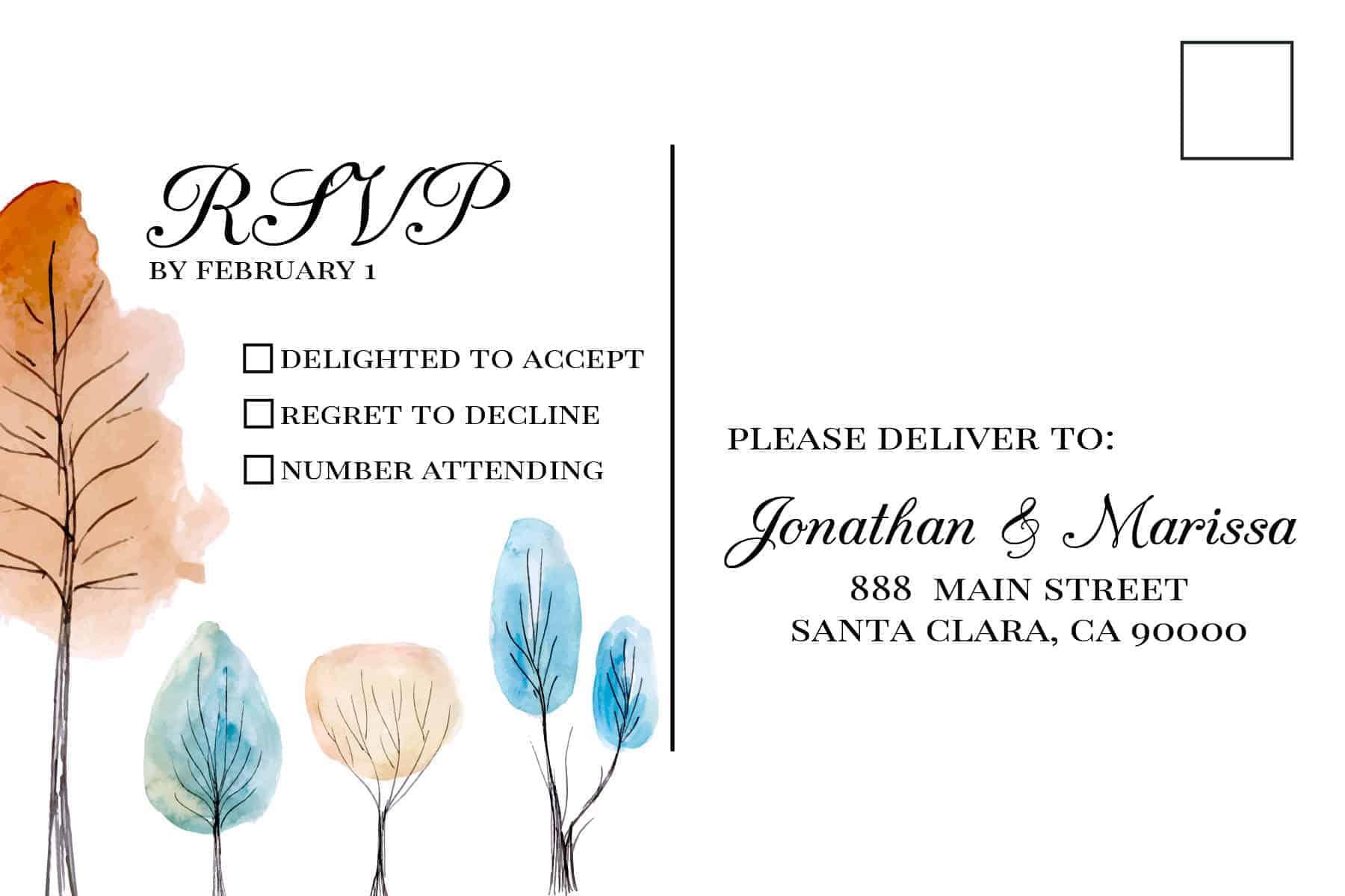 Wedding Invitation Cards with RSVP postcards Fall, Trees, Nature Wedding Invitations, Wedding Cards, Cheap Wedding Invitations