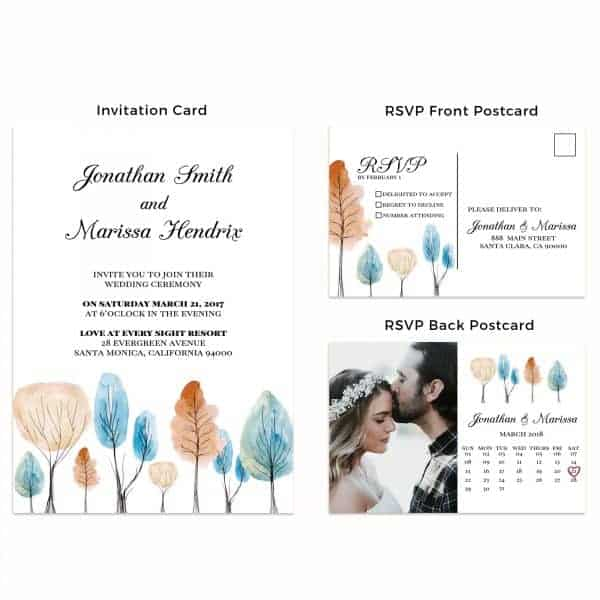 Wedding Invitation Cards with RSVP postcards Fall, Trees, Nature Wedding Invitations, Wedding Cards, Cheap Wedding Invitations