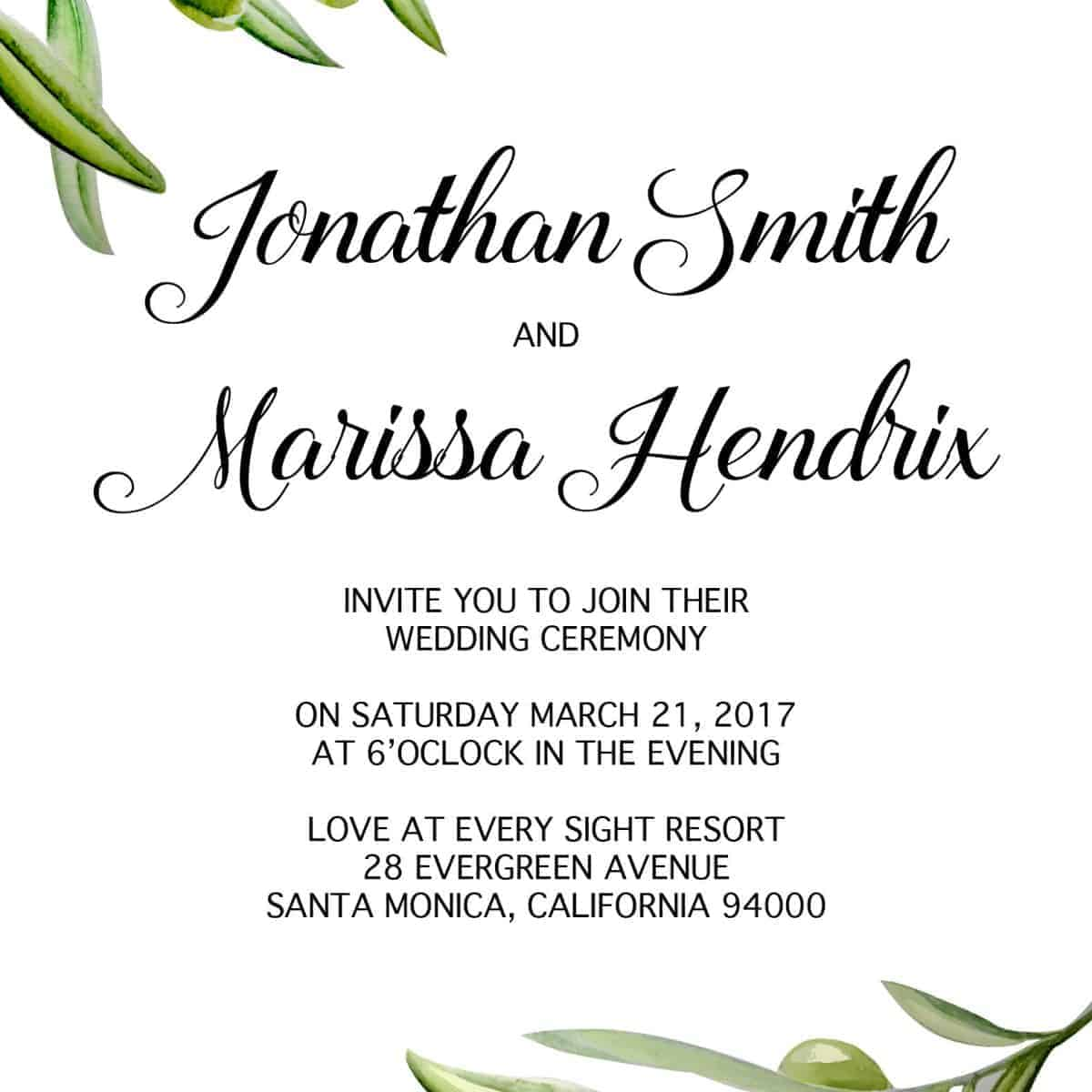 Simple Wedding Invitation Cards with RSVP postcards Olive Branch, Nature Wedding Invitations, Wedding Cards, Cheap Wedding Invitations