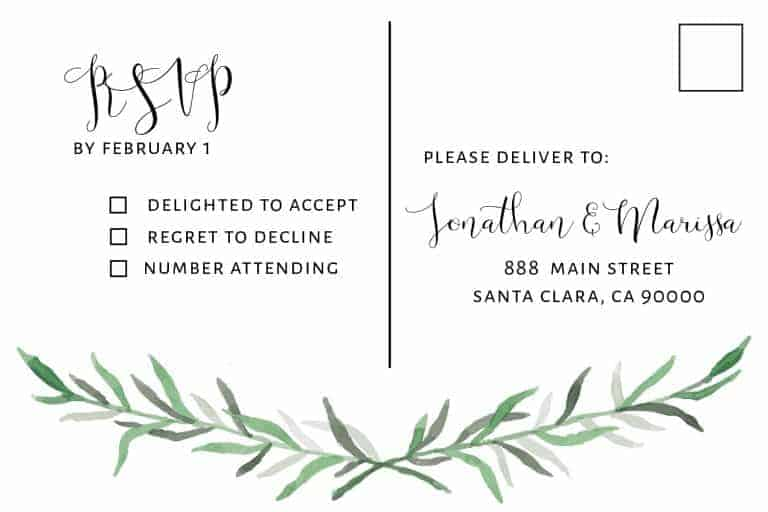 Simple Wedding Invitation Cards with RSVP postcards Branches, Nature Wedding Invitations, Wedding Cards, Cheap Wedding Invitations