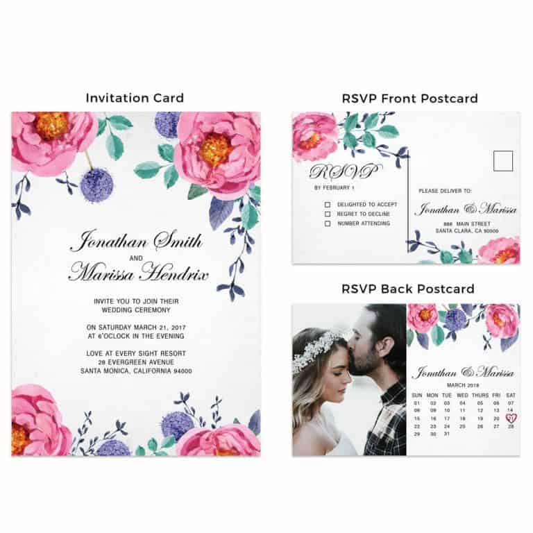 Wedding Invitation Cards, Afforable and Simple Wedding Cards with RSVP Postcards, Add Your Own Photo Option