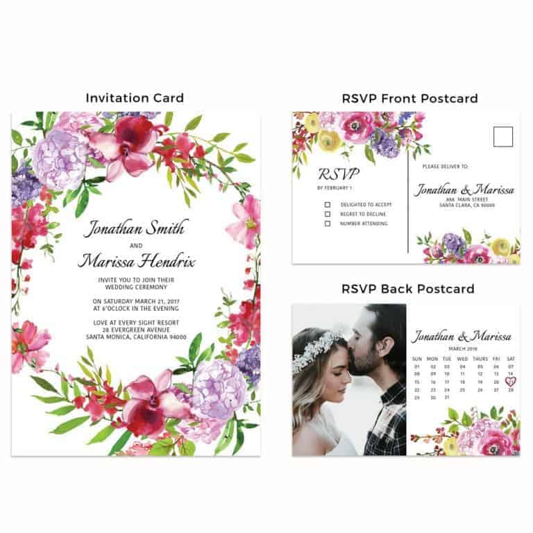 Simple Floral Wedding Invitation Cards with RSVP Postcards and Add Your Own Photo Option