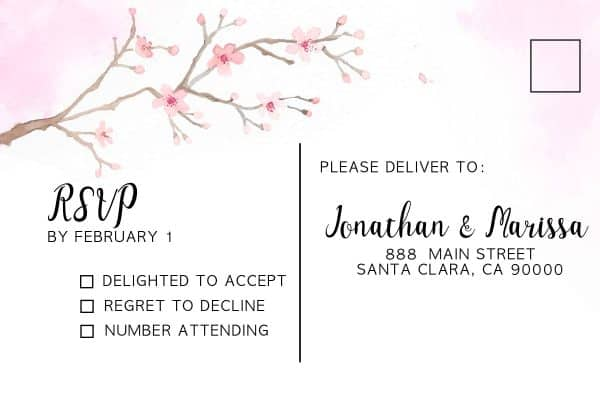 Cherry Blossom Wedding Invitation Cards with RSVP postcards, Sakura Wedding Invites, Add Your Own Photo