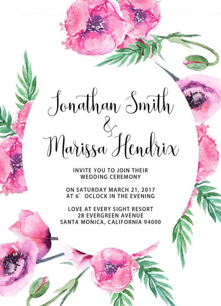 Spring Blossom Wedding Invitation Cards with RSVP Postcards and Elegatn Flowers, Add Your Own Photo
