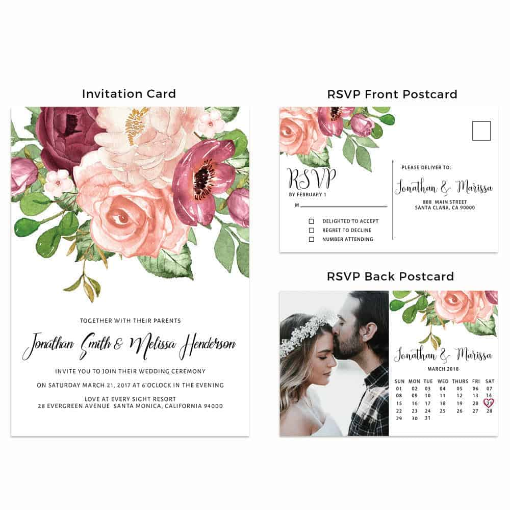 Marsala Wedding Invitation Cards with RSVP Postcards, Elegant Flowers, Add Your Own Photo