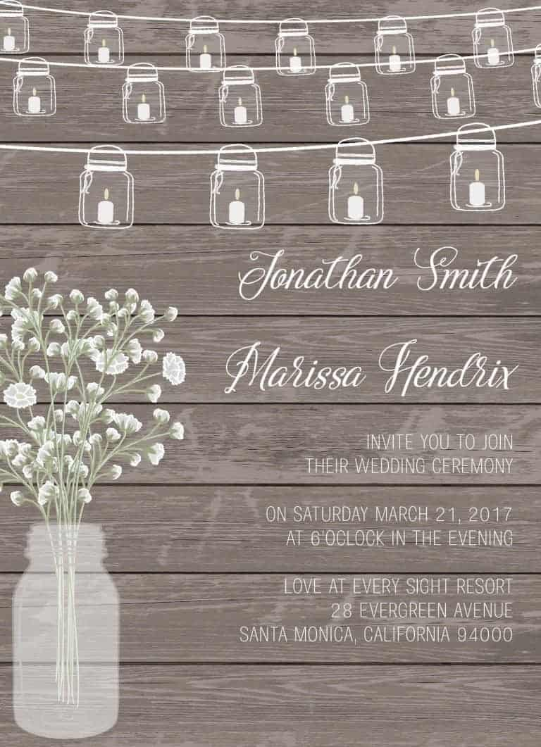 Rustic Wedding Invitation Cards with RSVP Postcards , Hanging Mason Jars and Baby's Breath Flowers