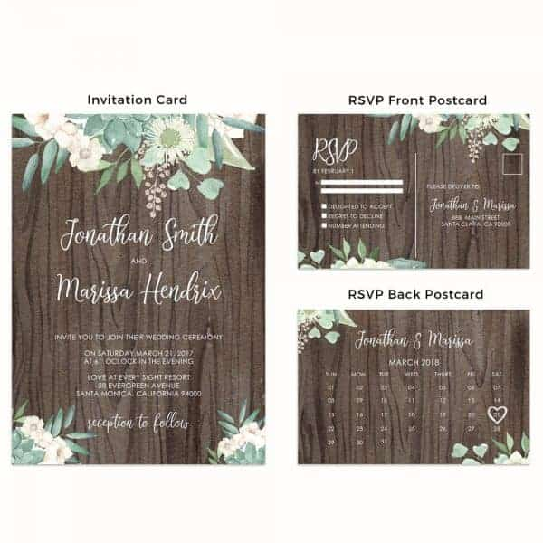Rustic Wedding Invitation Cards with RSVP Postcards
