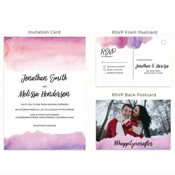 Pink Watercolor, Wedding Invitation Cards with RSVP postcards Branches, Wedding Invitations, Wedding Sakura