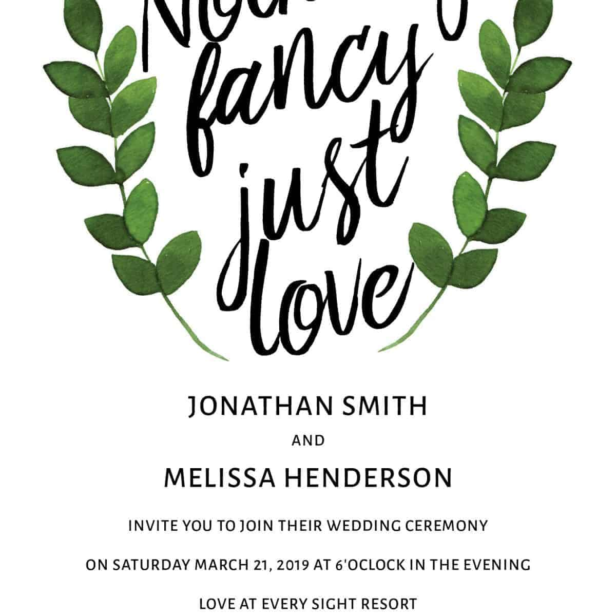 Green Wreath, Wedding Invitation Cards with RSVP postcards Branches, Wedding Invitations, Spring Wedding