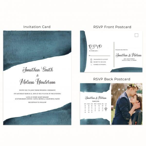 Blue Magic, Wedding Invitation Cards with RSVP postcards Branches, Wedding Invitations, Spring Wedding
