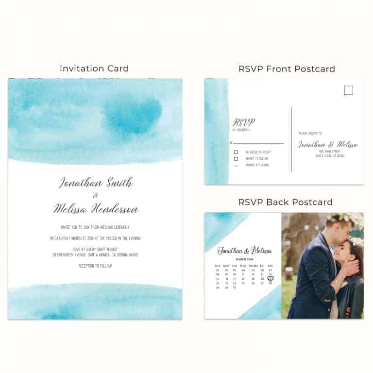 Blue Sky Magic, Wedding Invitation Cards with RSVP postcards Branches, Wedding Invitations, Spring Wedding