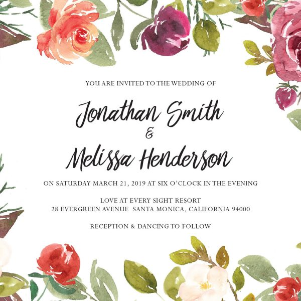 Floral Beauty, Wedding Invitation Cards with RSVP postcards Branches, Wedding Invitations, Spring Wedding
