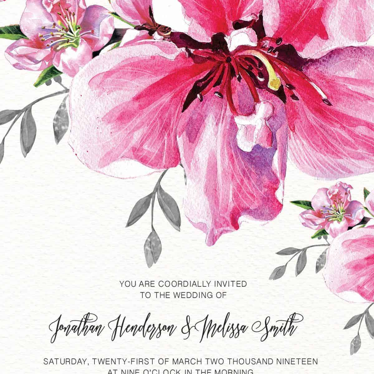 Floral Blooming, Wedding Invitation Cards with RSVP postcards Branches, Wedding Invitations, Spring Wedding