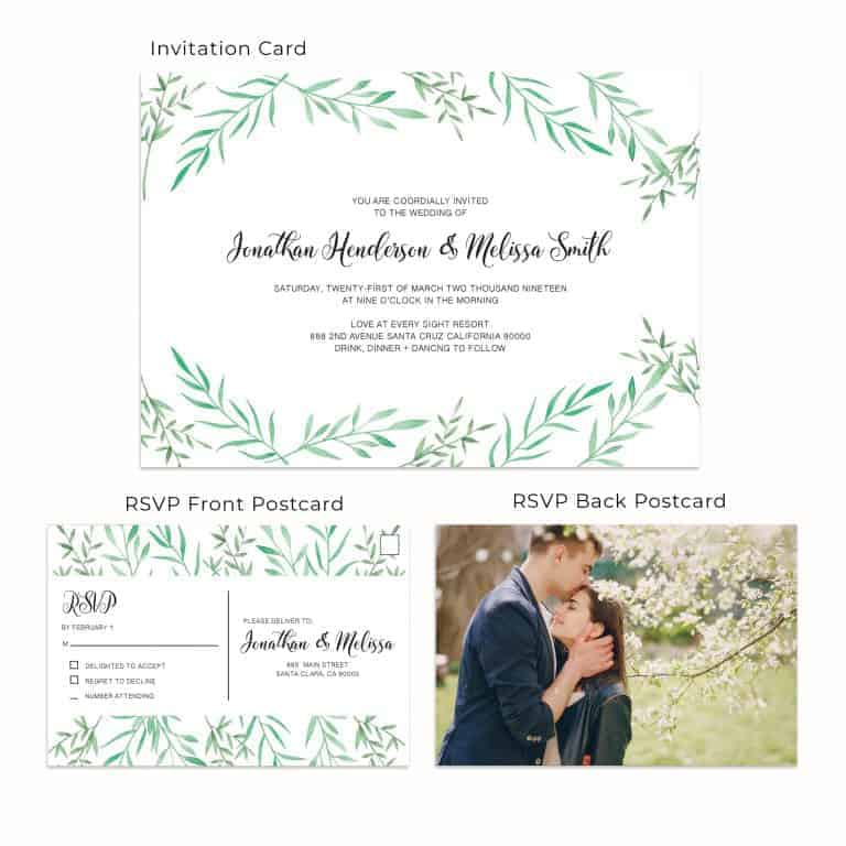 Magnificent Leaves, Wedding Invitation Cards with RSVP postcards Branches, Wedding Invitations, Spring Wedding